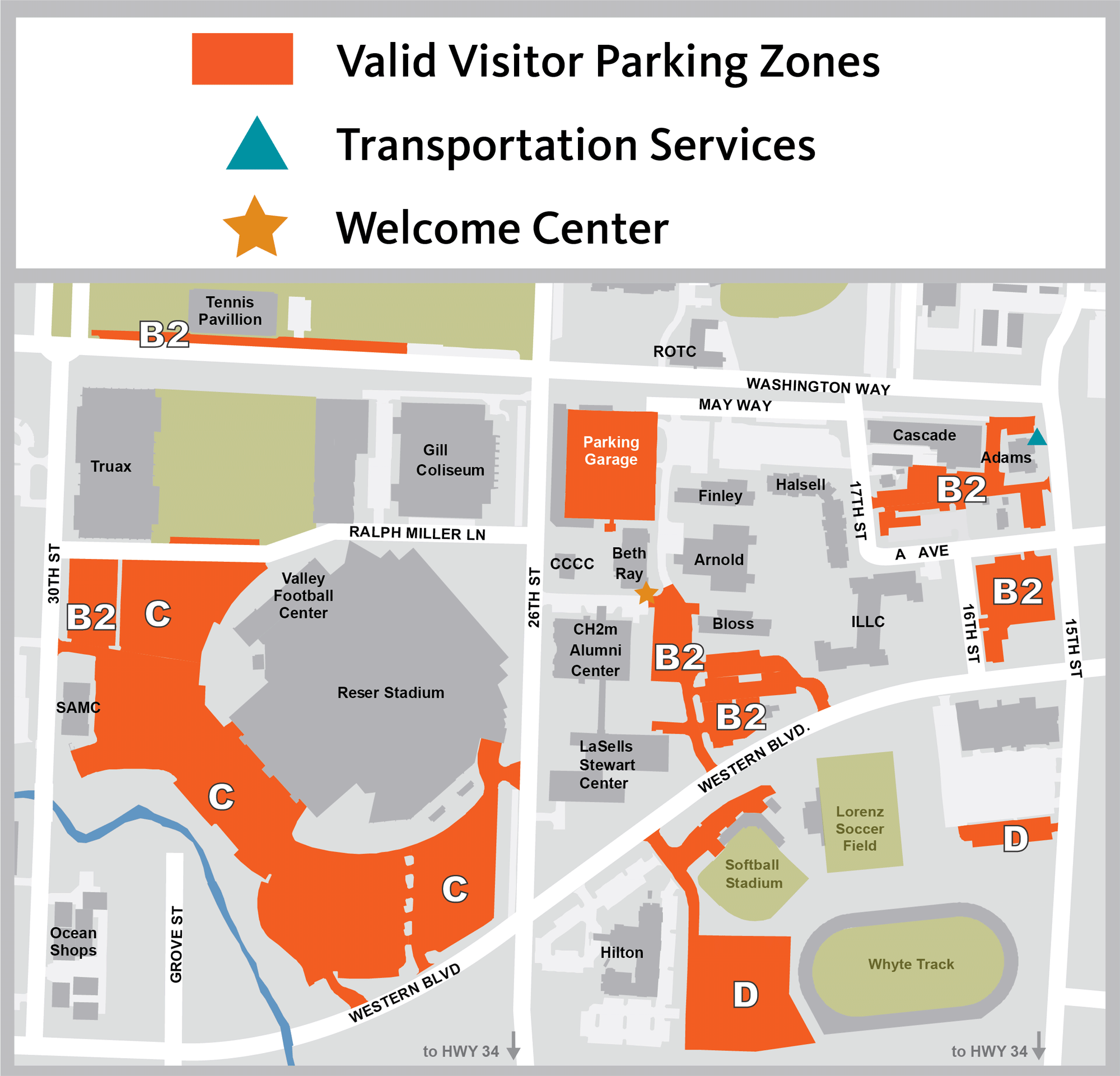 welcome center parking map
